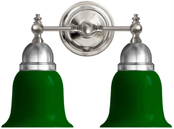 Bathroom Wall Lamp - Bergman nickel-plated brass, green bell