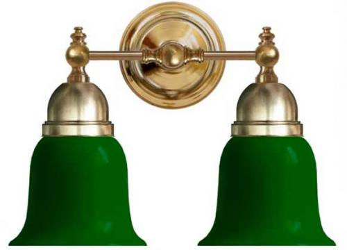 Bathroom Wall Lamp - Bergman brass, green bell