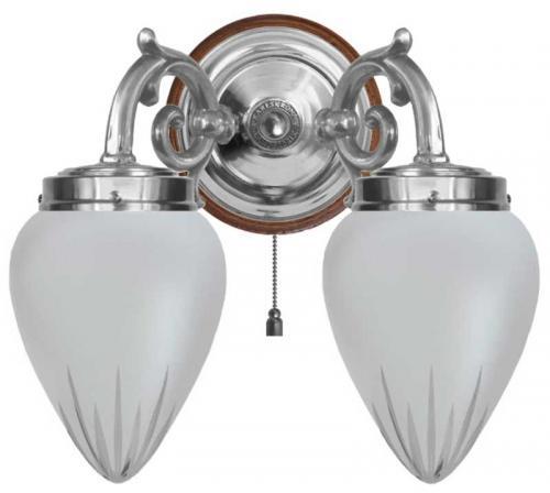 Wall lamp - Tegengren nickel, cut matte glass