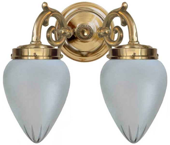 Baderomslampe - Tegengren slipt matt glass
