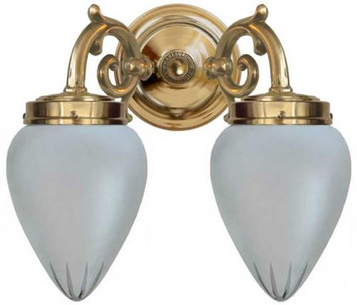 Bathroom wall lamp - Tegengren brass matte glass