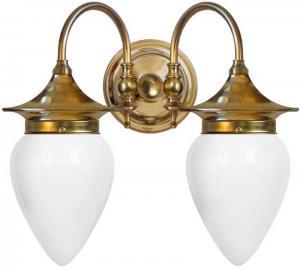 Vegglampe - Tigerstedt opal hvitt glass - arvestykke - gammeldags dekor - klassisk stil - retro - sekelskifte