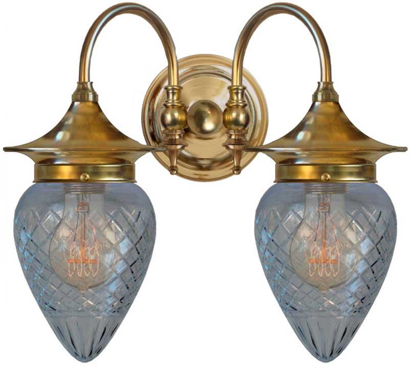 Vegglampe - Tigerstedt slipt klar dråpe - arvestykke - gammeldags dekor - klassisk stil - retro - sekelskifte