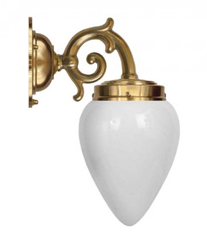 Vägglampa - Topelius opalvit droppe - sekelskiftesstil - gammaldags inredning - klassisk stil - retro