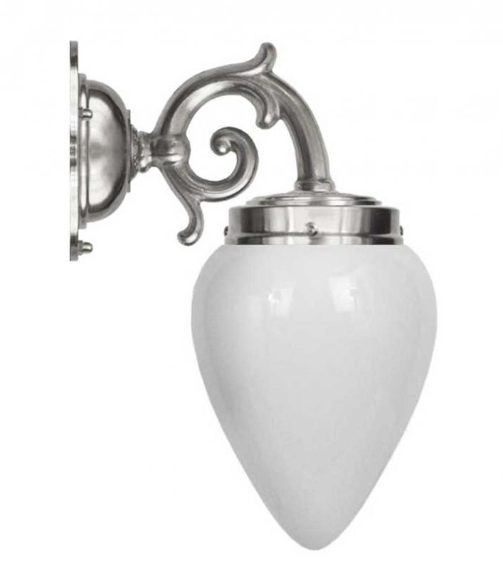 Vegglampe - Topelius nikkel opal hvitt glass - arvestykke - gammeldags dekor - klassisk stil - retro