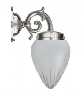 Vegglampe - Topelius nikkel slipt matt glass - arvestykke - gammeldags dekor - klassisk stil - retro