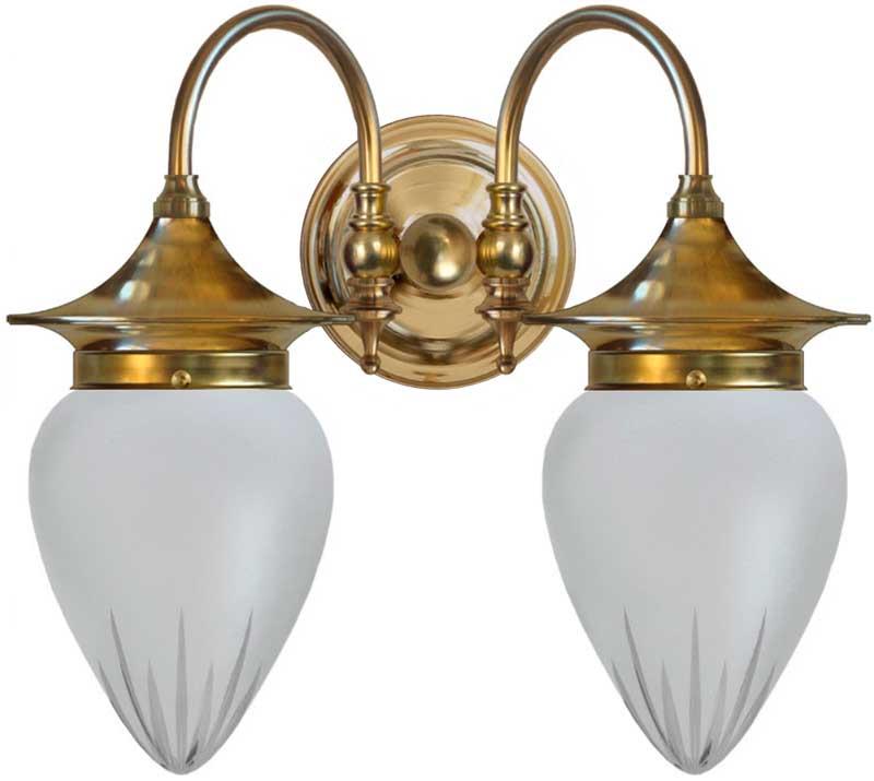 Vegglampe - Tigerstedt slipt matt glass - arvestykke - gammeldags dekor - klassisk stil - retro - sekelskifte