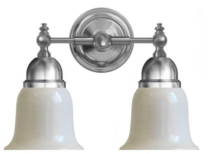 Badrumslampa - Bergman förnicklad, opalvit klocka