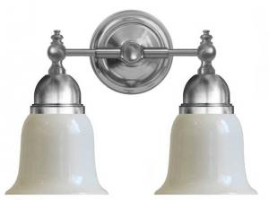 Baderomslampe - Bergman forniklet, opalhvit skjerm