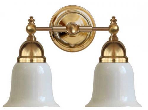 Bathroom Wall Lamp - Bergman brass, opal white bell