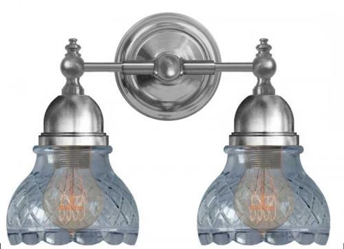 Bathroom Wall Lamp - Bergman nickel with clear cut glass