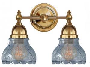 Baderomslampe - Bergman messing, klarglass