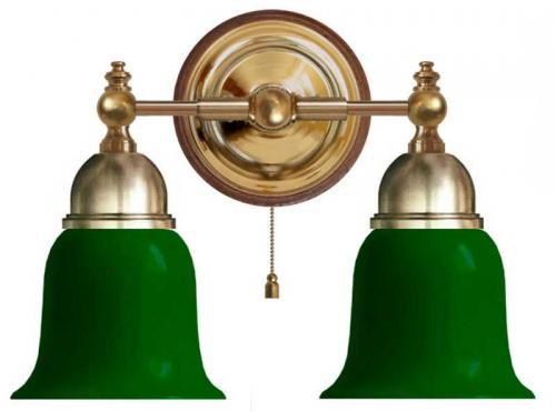 Wall Lamp - Bergman brass, green bell