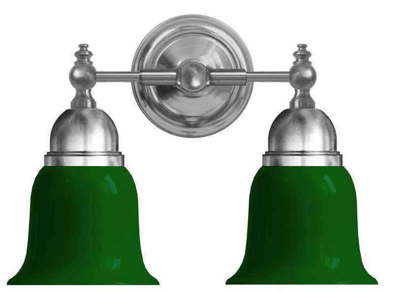 Baderomslampe - Bergman forniklet, grønn klokke