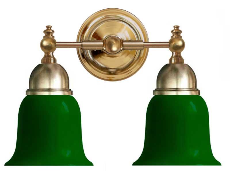 Baderomslampe - Bergman messing, grønn klokke