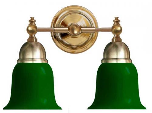 Bathroom Wall Lamp - Bergman brass, green bell