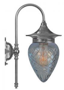 Vegglampe - Fryxell nikkel, klar dråpeformet kuppel - arvestykke - gammeldags dekor - klassisk stil - retro