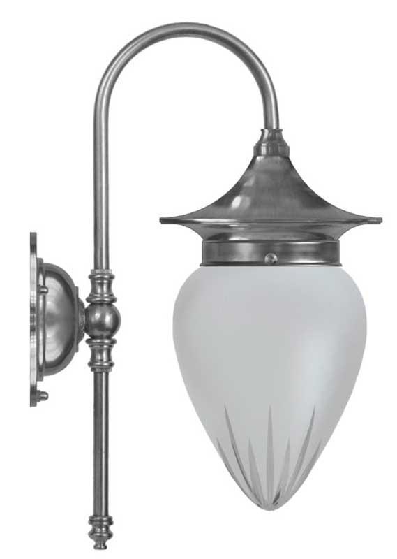 Vegglampe - Fryxell nikkel, matt glass - arvestykke - gammeldags dekor - klassisk stil - retro