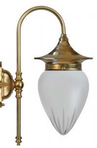 Vegglampe - Fryxell messing, matt glass - arvestykke - gammeldags dekor - klassisk stil - retro