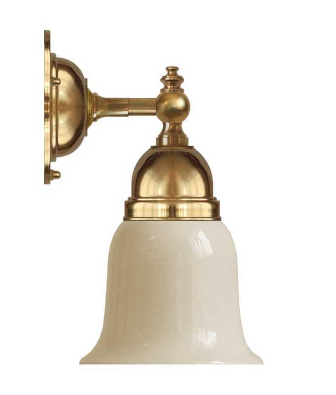 Baderomslampe - Adelborg messing, gul hvit klokke