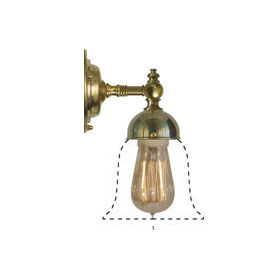 Bathroom Wall Lamp - Adelborg brass, opal white bell