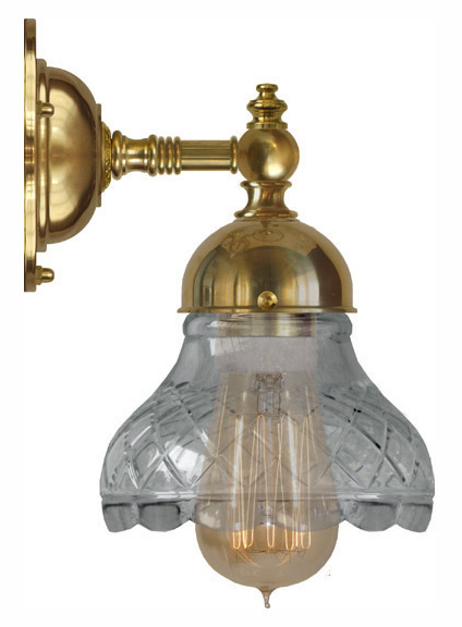 Badrumslampa - Adelborg mässing slipat klarglas - sekelskifte - gammaldags inredning - retro - klassisk stil