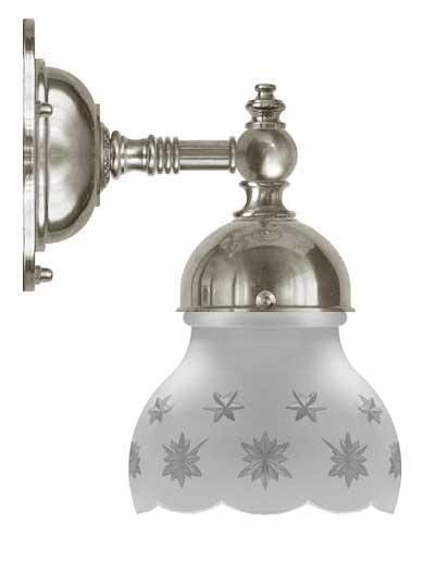 Baderomslampe - Adelborg forniklet slipt matt glass - arvestykke - gammeldags dekor - klassisk stil - retro