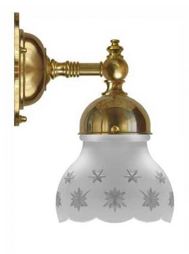 Bathroom Wall Lamp - Adelborg brass, cut matte glass