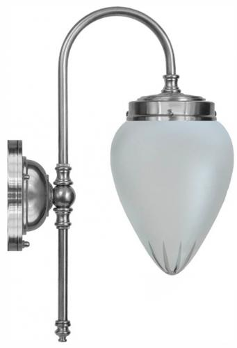 Bathroom Lamp - Blomberg 80 nickel frosted drop glass - old fashioned style - retro