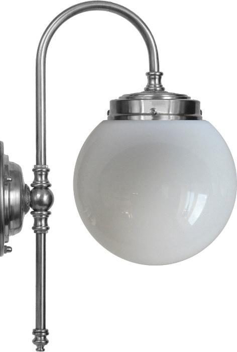 Baderomslampe - Blomberg 80 forniklet globelampe - arvestykke - gammeldags dekor - klassisk stil - retro