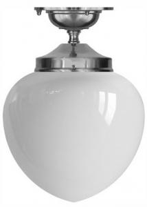 Bathroom Lamp - Ekelund 100 ceiling lamp nickel opal white glass