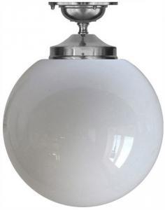 Badrumslampa - Taklampa Ekelundsfäste 100 förnicklad - klassisk inredning - retro - gammaldags stil