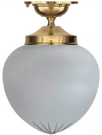 Bathroom Lamp - Ekelund 100 ceiling lamp brass cut matte glass