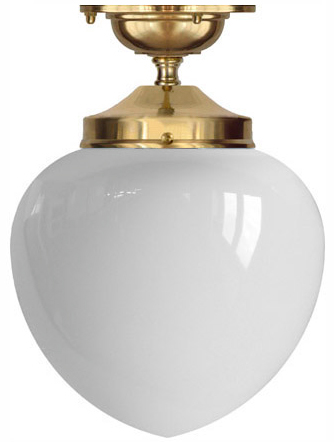 Bathroom Lamp - Ekelund 100 ceiling lamp brass white glass - old style - old fashioned interior - oldschool style