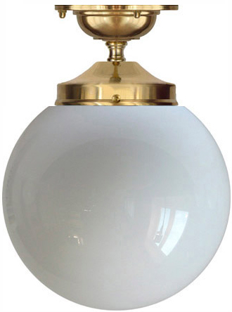 Bathroom Lamp - Ekelund 100 ceiling lamp brass & opal white shade - old styel - classic interior - old fashioned style
