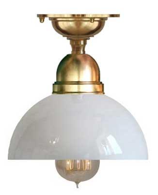 Badrumslampa - Taklampa Byström 60 mässing, halvsfär - gammaldags inredning - klassisk stil - retro -sekelskifte