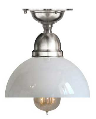Bathroom Lamp - Byström 60 ceiling light nickel rounded glass