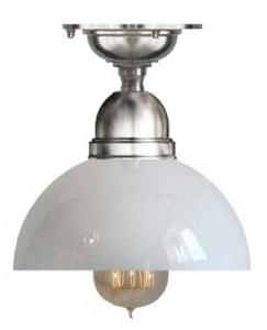 Baderomslampe - Taklampe Byströmfeste 60 forniklet, klokkeformet skjerm - arvestykke - gammeldags dekor - klassisk stil - retro - sekelskifte