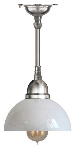 Baderomslampe - Taklampe Byström pendel 60 forniklet, klokkeformet skjerm - arvestykke - gammeldags dekor - klassisk stil - retro - sekelskifte