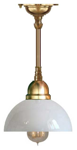 Baderomslampe - Taklampe Byström pendel 60 messing, klokkeformet skjerm - arvestykke - gammeldags dekor - klassisk stil - retro - sekelskifte