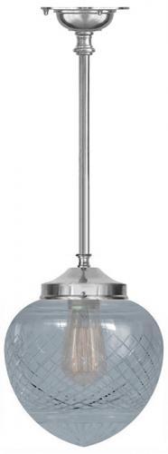 Badrumslampa - Ekelundspendel 100 förnicklad klardroppe - gammaldags stil - sekelskifte - gammaldags inredning