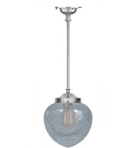 Bathroom Lamp - Ekelund pendant 100 nickel, drop shade