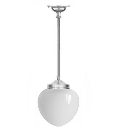 Bathroom Lamp - Ekelund pendant 100 nickel, white drop shade