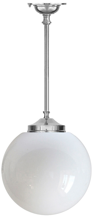 Bathroom Lamp - Ekelund pendant 100 nickel-plated brass, large globe shade