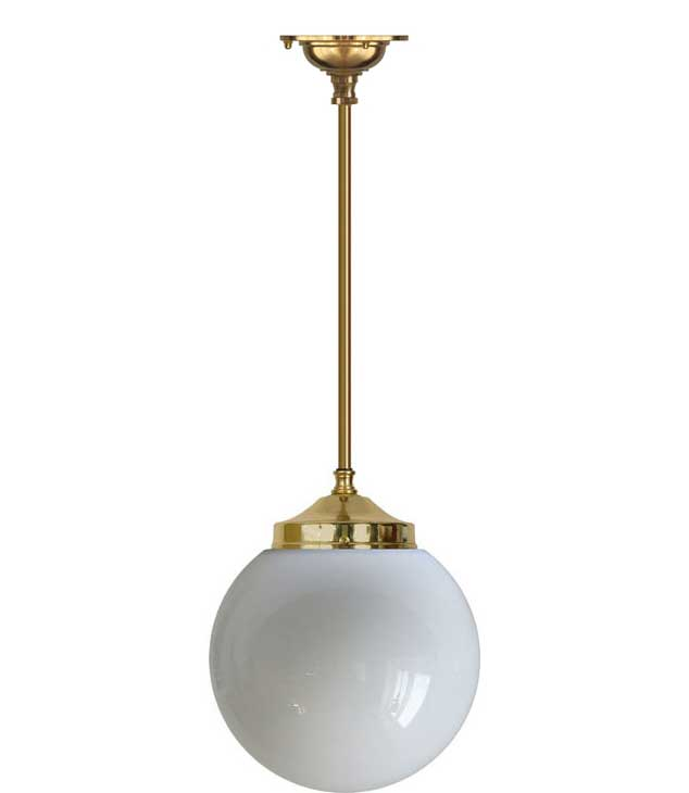 Bathroom Lamp - Ekelund pendant 100 brass, globe shade