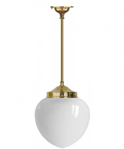 Bathroom Lamp - Ekelund pendant 100 brass, opal white drop shade