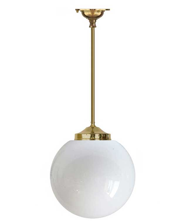 Bathroom Lamp - Ekelund pendant 100 brass, large globe shade