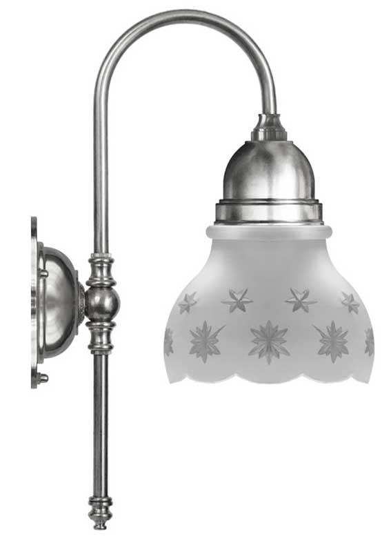 Badrumslampa - Ahlström 60 förnicklad slipat mattglas - sekelskiftesstil - gammaldags inredning - klassisk stil - retro