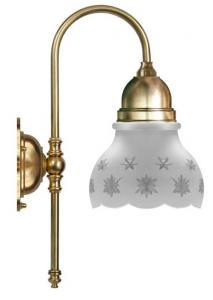 Bathroom Wall Lamp - Ahlström brass, cut matte glass