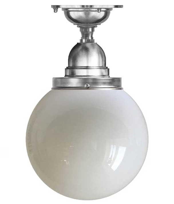 Baderomslampe - Taklampe Byström 100 forniklet stor globeskjerm - arvestykke - gammeldags dekor - klassisk stil - retro